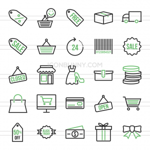 25 Black Friday Line Green & Black Icons - Preview - IconBunny