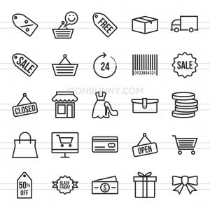 25 Black Friday Line Icons - Preview - IconBunny
