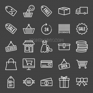 25 Black Friday Line Inverted Icons - Preview - IconBunny