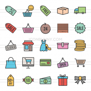25 Black Friday Line Multicolor Filled Icons - Preview - IconBunny