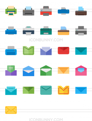 26 Email & Printers Flat Multicolor Icons - Preview - IconBunny