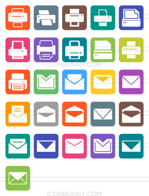 26 Email & Printers Flat Round Corner Icons - Preview - IconBunny