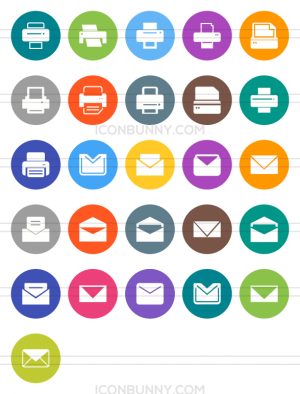 26 Email & Printers Flat Round Icons - Preview - IconBunny