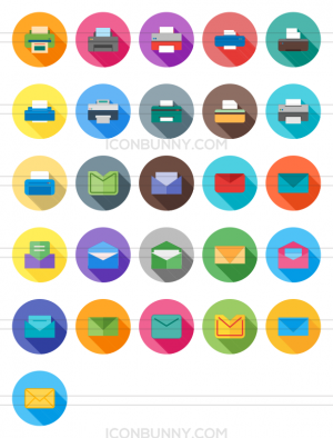 26 Email & Printers Flat Shadowed Icons - Preview - IconBunny