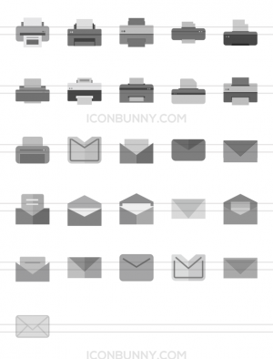 26 Email & Printers Greyscale Icons - Preview - IconBunny
