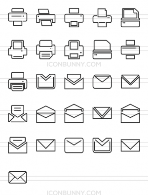 26 Email & Printers Line Icons - Preview - IconBunny