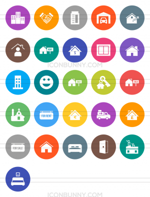 26 Real Estate Flat Round Icons - Preview - IconBunny