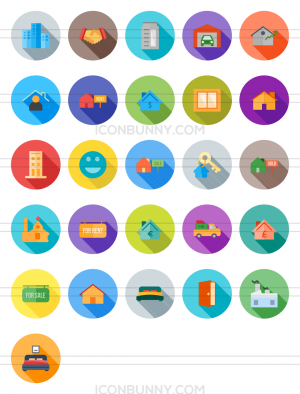 26 Real Estate Flat Shadowed Icons - Preview - IconBunny