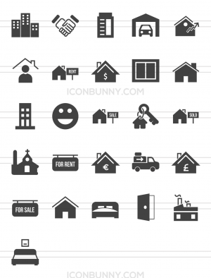 26 Real Estate Glyph Icons - Preview - IconBunny