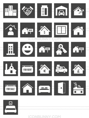 26 Real Estate Glyph Inverted Icons - Preview - IconBunny
