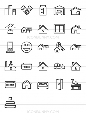 26 Real Estate Line Icons - Preview - IconBunny