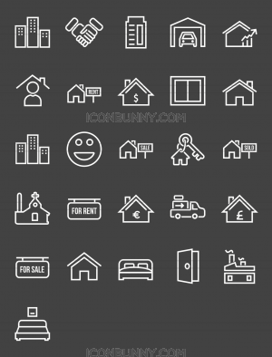 26 Real Estate Line Inverted Icons - Preview - IconBunny