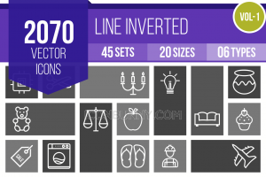 2070 Line inverted Icons Bundle - Overview - IconBunny