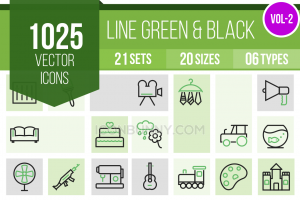 1025 Line Green & Black Icons Bundle - Overview - IconBunny