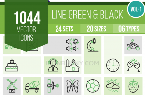 1044 Line Green & Black Icons Bundle - Overview - IconBunny
