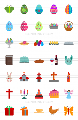 35 Easter Flat Multicolor Icons - Preview - IconBunny