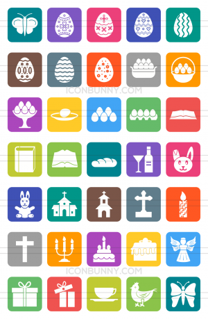 35 Easter Flat Round Corner Icons - Preview - IconBunny