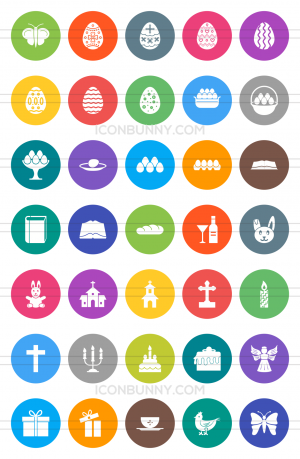 35 Easter Flat Round Icons - Preview - IconBunny