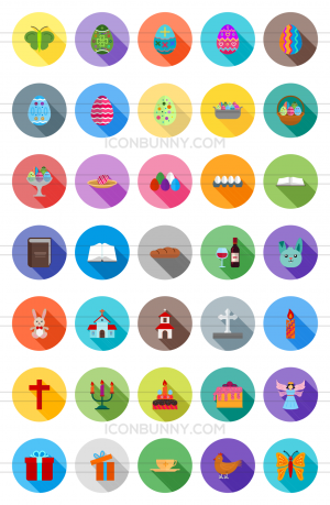 35 Easter Flat Shadowed Icons - Preview - IconBunny