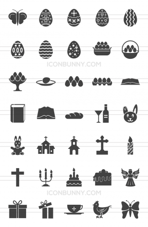 35 Easter Glyph Icons - Preview - IconBunny