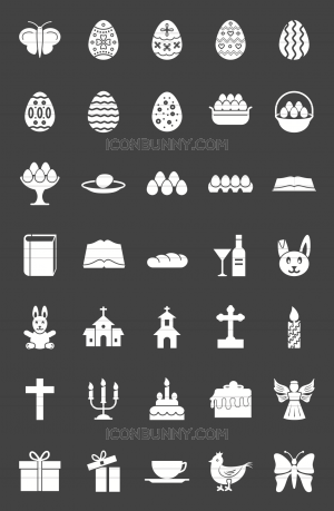 35 Easter Glyph Inverted Icons - Preview - IconBunny
