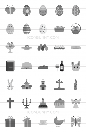 35 Easter Greyscale Icons - Preview - IconBunny