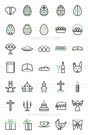 35 Easter Line Green & Black Icons - Preview - IconBunny