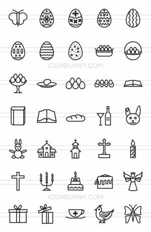 35 Easter Line Icons - Preview - IconBunny