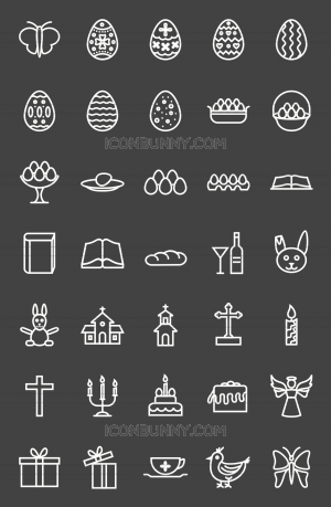 35 Easter Line Inverted Icons - Preview - IconBunny