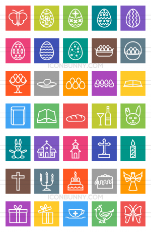 35 Easter Line Multicolor B/G Icons - Preview - IconBunny