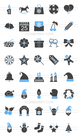 40 Christmas Blue & Black Icons - Preview - IconBunny