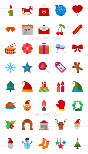 40 Christmas Flat Multicolor Icons - Preview - IconBunny