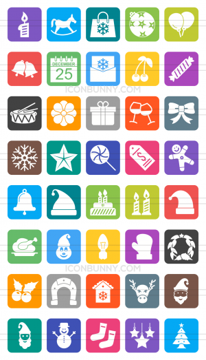 40 Christmas Flat Round Corner Icons - Preview - IconBunny