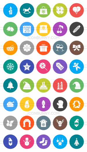 40 Christmas Flat Round Icons - Preview - IconBunny