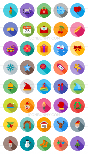 40 Christmas Flat Shadowed Icons - Preview - IconBunny