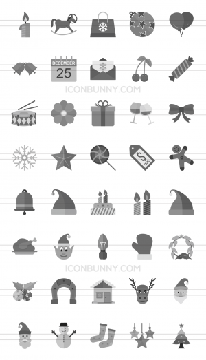 40 Christmas Greyscale Icons - Preview - IconBunny