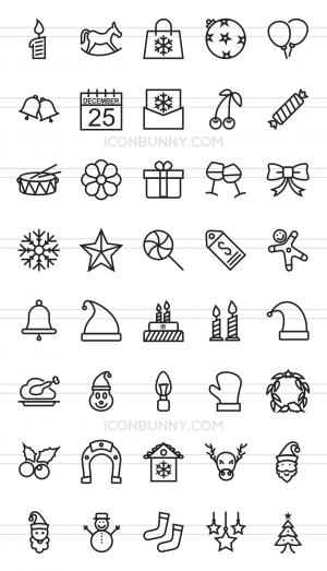 40 Christmas Line Icons - Preview - IconBunny