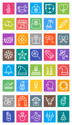 40 Christmas Line Multicolor B/G Icons - Preview - IconBunny