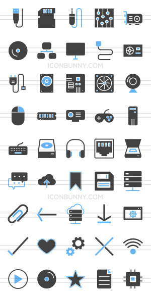 45 Computer & Hardware Blue & Black Icons - Preview - IconBunny