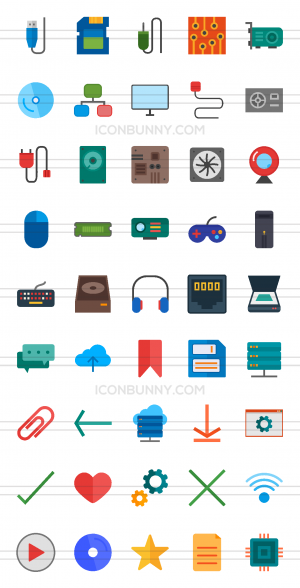 45 Computer & Hardware Flat Multicolor Icons - Preview - IconBunny
