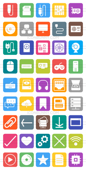 45 Computer & Hardware Flat Round Corner Icons - Preview - IconBunny