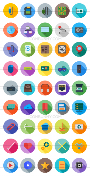 45 Computer & Hardware Flat Shadowed Icons - Preview - IconBunny