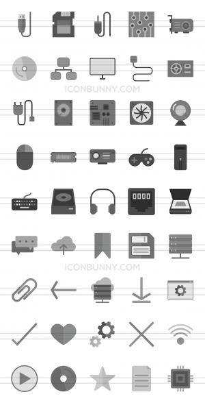 45 Computer & Hardware Greyscale Icons - Preview - IconBunny