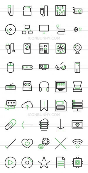 45 Computer & Hardware Line Green & Black Icons - Preview - IconBunny