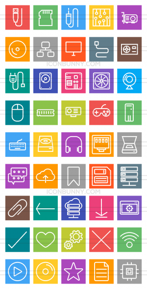 45 Computer & Hardware Line Multicolor B/G Icons - Preview - IconBunny