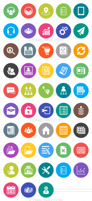 48 Admin Dashboard Flat Round Icons - Preview - IconBunny