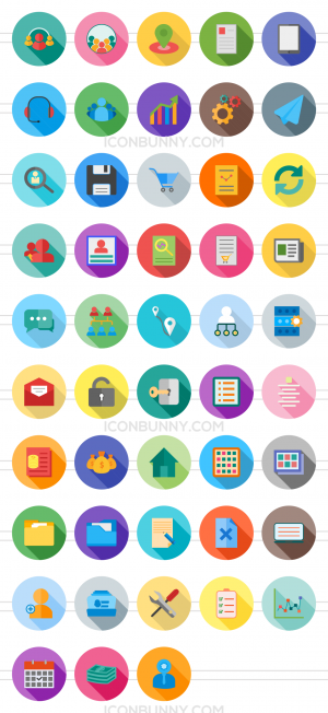 48 Admin Dashboard Flat Shadowed Icons - Preview - IconBunny