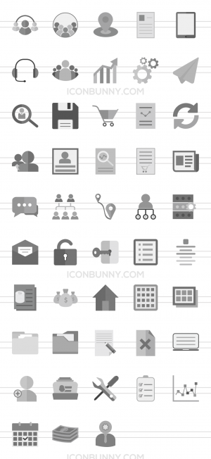 48 Admin Dashboard Greyscale Icons - Preview - IconBunny