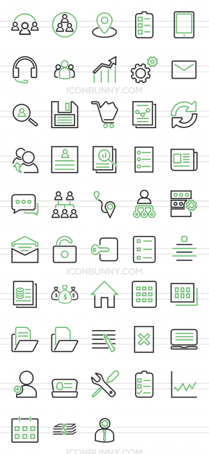 48 Admin Dashboard Line Green & Black Icons - Preview - IconBunny