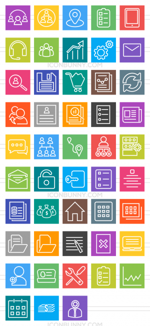 48 Admin Dashboard Line Multicolor B/G Icons - Preview - IconBunny